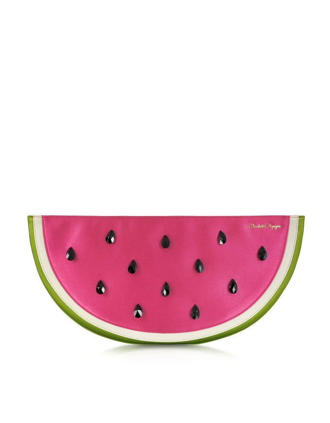 Pink and Green Watermelon Satin Pouch with Crystal Detail, Charlotte Olympia, www.forzieri.com