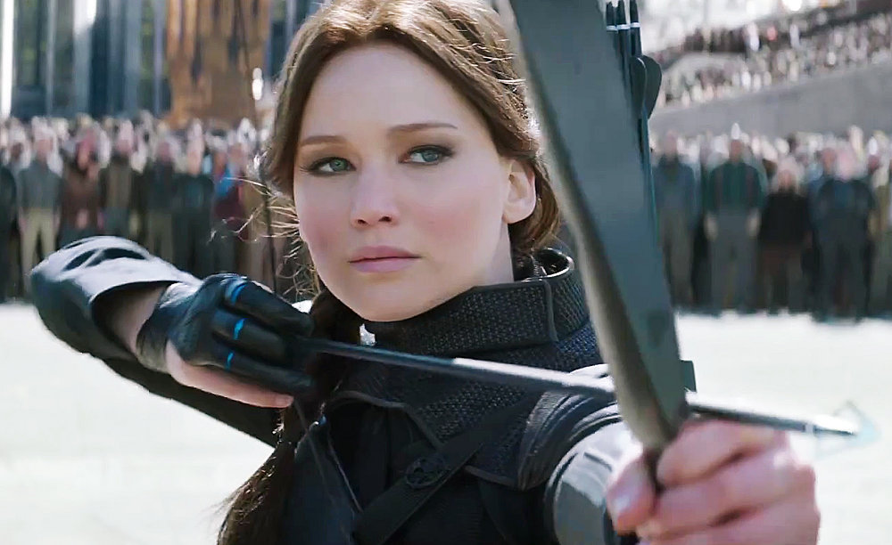 "Jennifer Lawrence in ""Hunger Games: Mockingjay Part 2"" and ""Joy"""